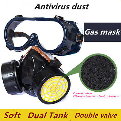 Gas Mask Chemical Gas Respirator Double Face Masks Filter Chemical Gas