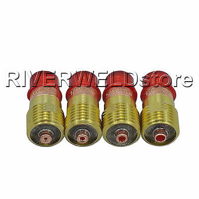 TIG Stubby Gas Lens 0.040, 1/16, 3/32 &1/8 Fit WP17 18 26 TIG Welding Torch 4pcs