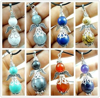 Mixing agate beads & alloy wing Pendant Handmade Gemstone Jewellery Necklace