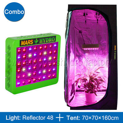 Mars Hydro Reflector 48 LED Grow Light+70x70x160cm Grow Tent Room Indoor Plants
