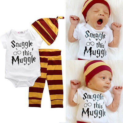 3PCS Newborn Baby Boy Top Rompers Pants Leggings Hat Striped Outfits Set Clothes