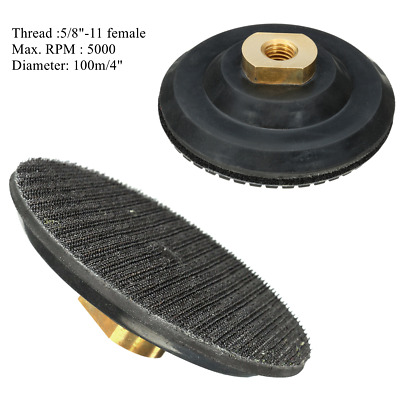 4 Inch Rubber Backer Pad 5/8''-11 Thread For Diamond Polishing Buffing Plate Kit