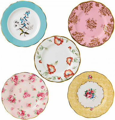 """100 YEARS OF ROYAL ALBERT 5 x PLATES 20cm / 8"""" 1950-1990 - NEW/BOXED"""