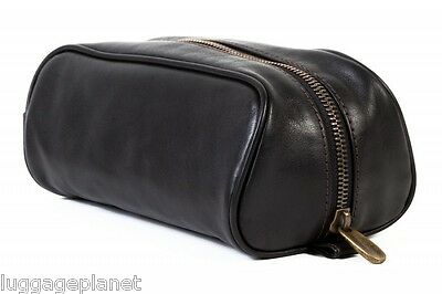 Bosca Tacconi Leather Small Soft Toiletry Shave Kit 574 Black