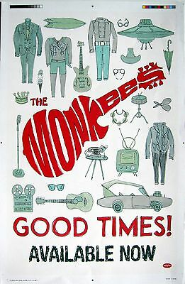 """THE MONKEES """"GOOD TIMES!"""" U.S. PROMO POSTER-Pop/Folk Rock, Psychedelic Pop Music"""