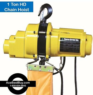 Pierce Arrow 1 Ton Electric Chain Hoist 110v.  Heavy Duty!!!