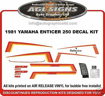 1981 YAMAHA ENTICER 250 DECAL KIT  HOOD AND TUNNEL reproduction