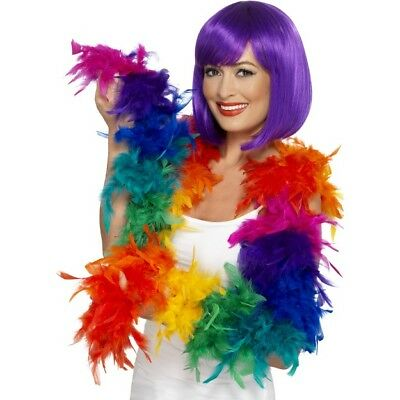 Pride Accessory Rainbow Coloured Feather Boa Fancy Dress Flapper 80g