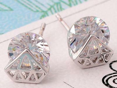 Hot sell Fashion design silver color clear crystal Earring Jewelry women's gift