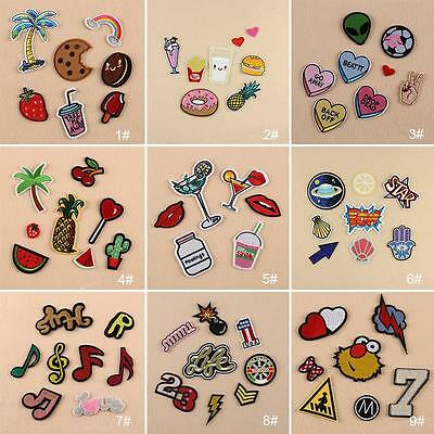 1Set Embroidery Iron On Patches Sewn Applique Cute Logo Food Uniform DIY