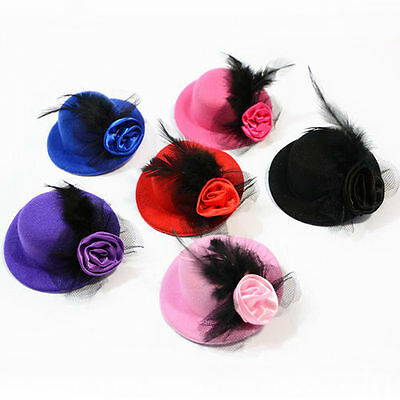 Elegant Mini Top Feather Hat Fascinator Hair Clip Party Costume Cute