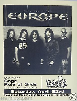 """EUROPE """"START FROM THE DARK TOUR"""" 2005 SAN DIEGO CONCERT POSTER-Glam Metal Music"""