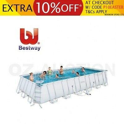 Bestway 7.3M Deluxe Steel Frame Above Ground Rectangular Family Swimming Pool