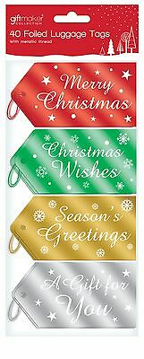 40 Foiled Metallic Coloured Christmas Gift Tags Luggage Labels Tie On TLLG