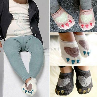 0-4Y New Baby Kid Girls Boys Non-slip Slipper Socks Soft Warm Coral Velvet Socks
