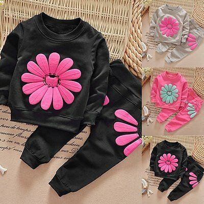 Toddler Kids Baby Girls Autumn Outfits Clothes T-shirt Tops+Long Pants 2PCS Set