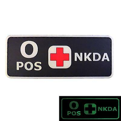 O POS NKDA Glow in Dark GITD blood type 3D PVC rubber fastener patch