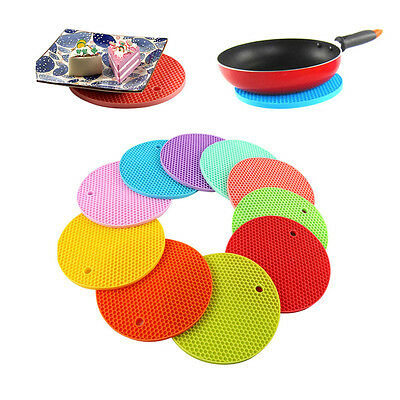 18*18cm Durable Silicone Round Non-slip Heat Resistant Mat Placemat Pad Practica