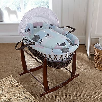 New Clair De Lune Stanley & Pip Padded Dark Wicker Unisex Baby Moses Basket