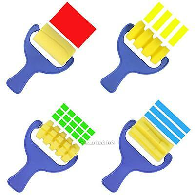 4pcs Sponge Brushes Paint Brush Plastic Handle Children Painting Graffit WT7n