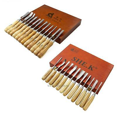 12 Piece Wood Carving Hand Chisel Tool Set Woodworking Professional Gouges New