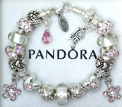 dd987bb592a Authentic Pandora Silver Charm Bracelet with Pink Love European charms~