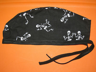 Surgical Scrub Hats/Cap Halloween Dancing Skeletons black and white