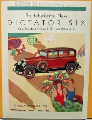 1929 Studebaker Dictator Six Regal Sedan Coupe Sales Brochure Folder Original