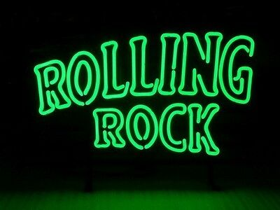 Usa New Rolling Rock Beer Lager Real Glass Neon Light Sign 3-Day Priority Usa