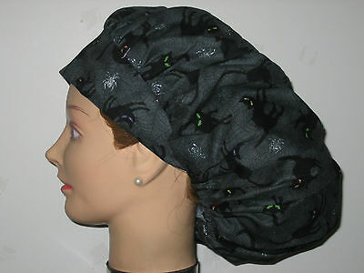 Surgical Scrub Hats/Caps Halloween  Black cats w/ sparkling spiders in  webs