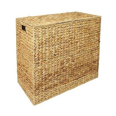 Water Hyacinth XXL Laundry Hamper Linen Basket Storage Bin With 2 Compartments