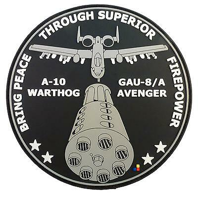 USAF A-10 Warthog Peace Through Superior Firepower PVC hook-and-loop patch