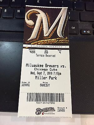 2016 Milwaukee Brewers Vs Chicago Cubs Ticket Stub 9/7 Anthony Rizzo Hr #131