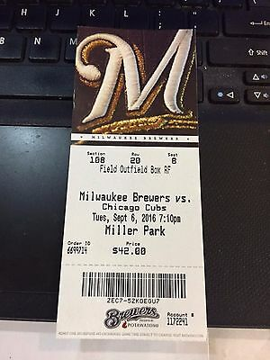 2016 Milwaukee Brewers Vs Chicago Cubs Ticket Stub 9/6 Rizzo 2 Hr's Braun Hr