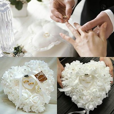 Wedding Ceremony Ivory Satin Crystal Flower Ring Bearer Pillow Cushion IL