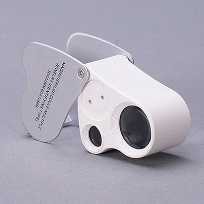60X 30X Mini Glass Magnifying Magnifier Jeweler Eye Jewelry Loupe Loop Led Light