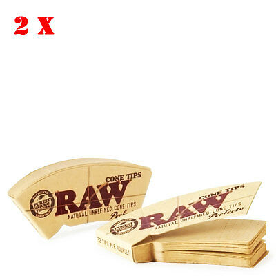 2 XRaw Perfecto Cone Tips Natual Unrefined  Rolling Smoking Cigarette Tobacco