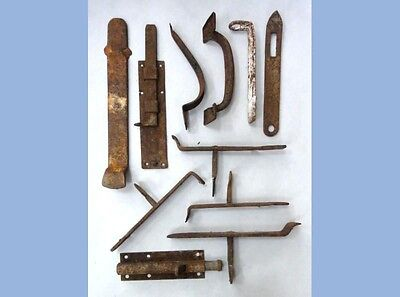 LOT antique 11pc AMISH BARN HARDWARE farm metal rust bolt handle LANCASTER OA