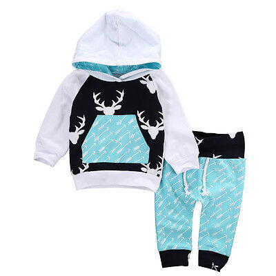 Christmas Kids Baby Girls Boys Reindeer Hooded Tops +Pants Outfits Set Clothes