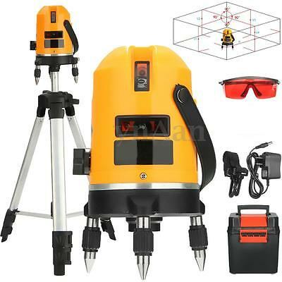 360° Automatic Self Leveling 5 Line 6 Point 4V1H Laser Level Measure Set +Tripod