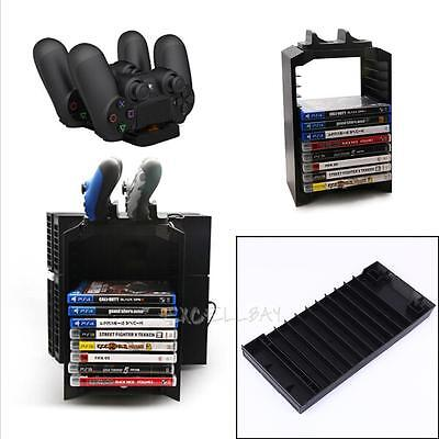 Game Disk Storage Tower and Dual Dock Controller Charging Station For PS4 PS3