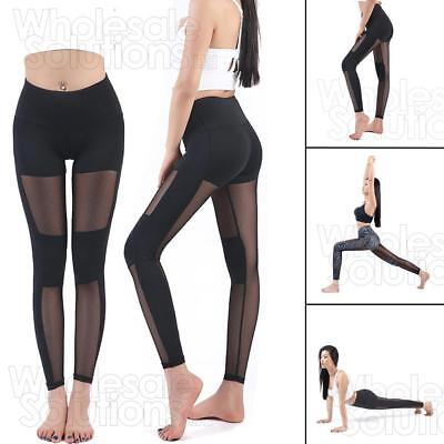 Women Capri YOGA Leggings Running Sport Pants High Waist Mesh Leggings Fitness