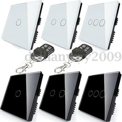 1/2 Way 1/2/3 Gang Tempered Glass Touch Light Wall Switch Panel & Controller NEW