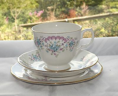 Vintage Gainsborough Bone China Trio Cup Saucer Plate Floral Fan in Pink & Blue