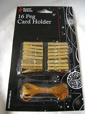 New 16 Mini Craft Pegs Gold Coloured With String Card Holders Embellishment