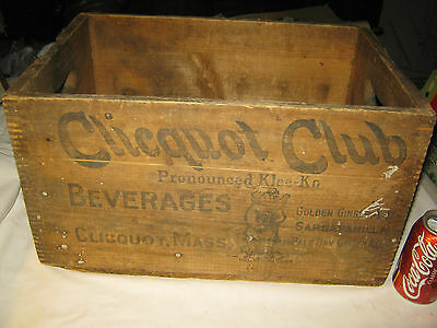 Antique Country Store Usa Ice Wood Clicquot Club Eskimo Soda Bottle Art Box Us
