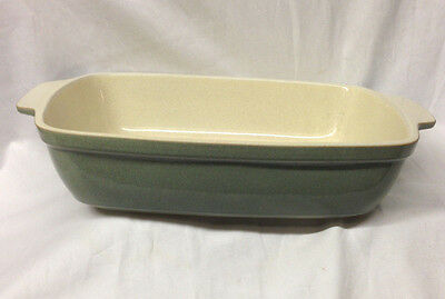 "Denby Langley Energy Lasagna Dish 14"" Celadon Green & White Cream"
