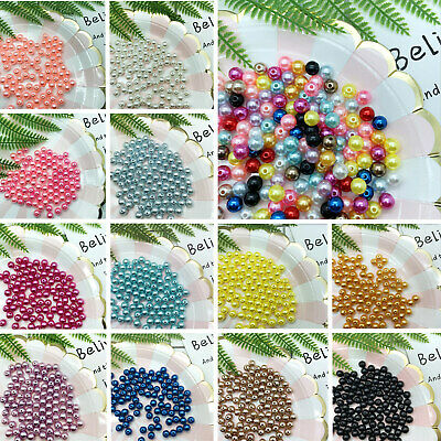 4/6/8/10mm Plastic Bead Pearl Round Light Weight Spacer Loose Beads Photo Props