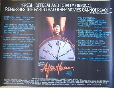 AFTER HOURS (1985) Original Rolled UK 30x40 Quad Movie Poster - Martin Scorsese