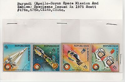 Burundi 1975 Apollo-Soyuz Space Mission stamp set on old approval card